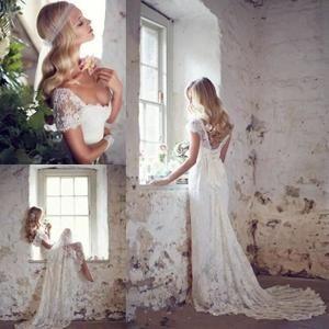 Robe de mariage-marié-bal plage-vintage longue dentelle he grande taille col V backless épaules dénudées  mancherons