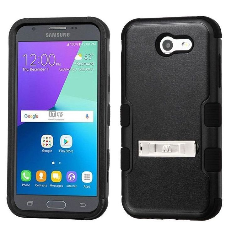 Insten Hard PC/ Silicone Dual Layer Hybrid Case Cover with Stand/ Holster For Samsung Galaxy Express Prime 2/ J3