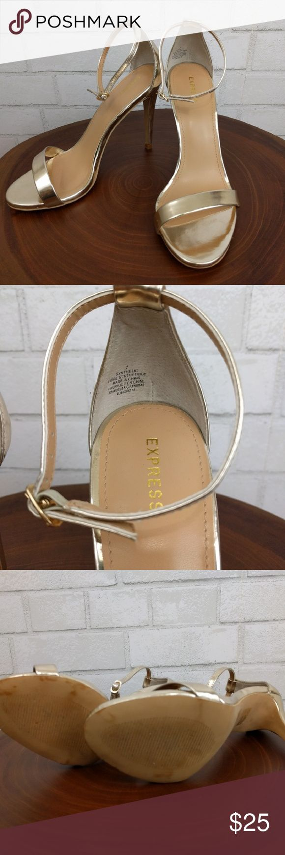 🎈ONE DAY SALE🎈 Express Gold Strap Heels Some wear shown in heel (see pic). Overall good condition. Pet and smoke free home. Express Shoes Heels
