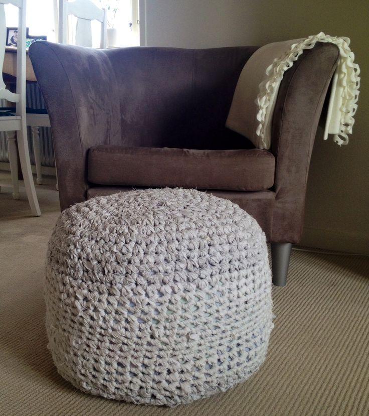 Homemade crochet pouf Hjemmelavet hæklet puf   Not all satisfied  Crochet pattern by me