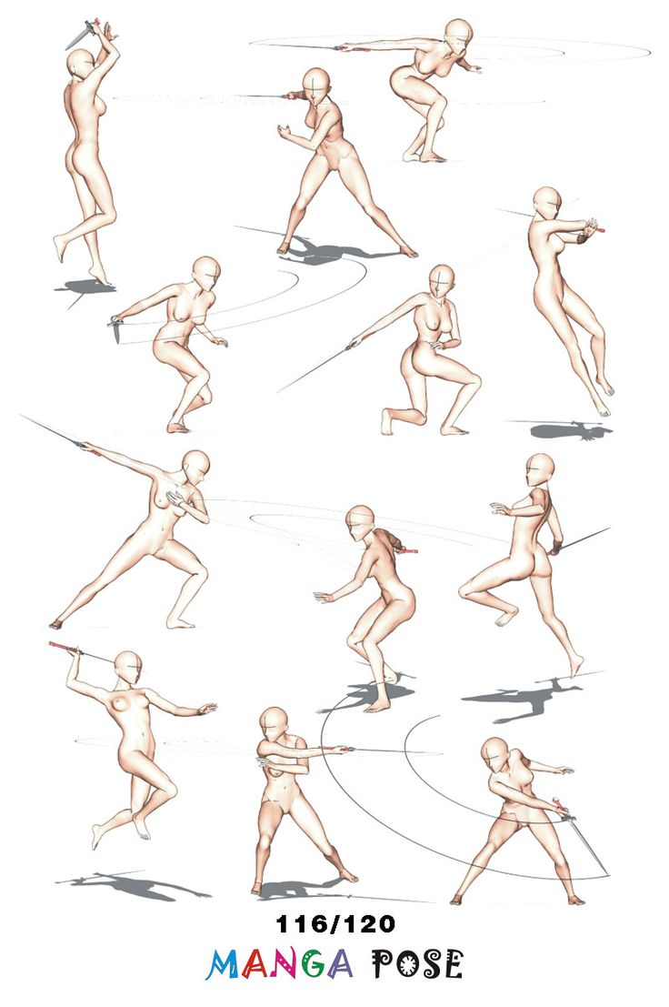 Tutorial Drawing Manga Pose Big Posebook For Manga Anime Character : Sword  Poses