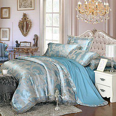 Light Blue Queen King Size Bedding Set Luxury Silk Cotton Blend Lace Duvet Cover Sets Jacquard Pattern , queen