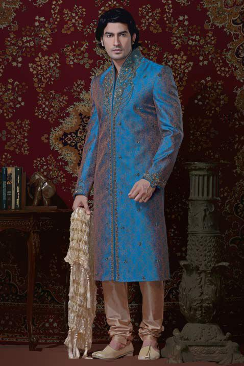 Blue Brocade Readymade Sherwani @ $261.36