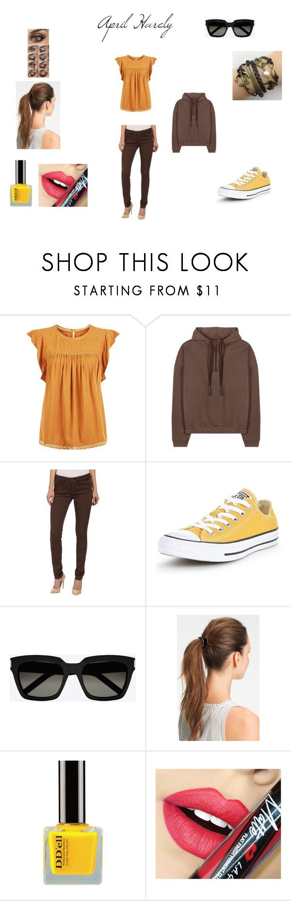 """wonderland band-april harely"" by demeters-child ❤ liked on Polyvore featuring New Look, adidas Originals, Mavi, Converse, Yves Saint Laurent, L. Erickson and Fiebiger"