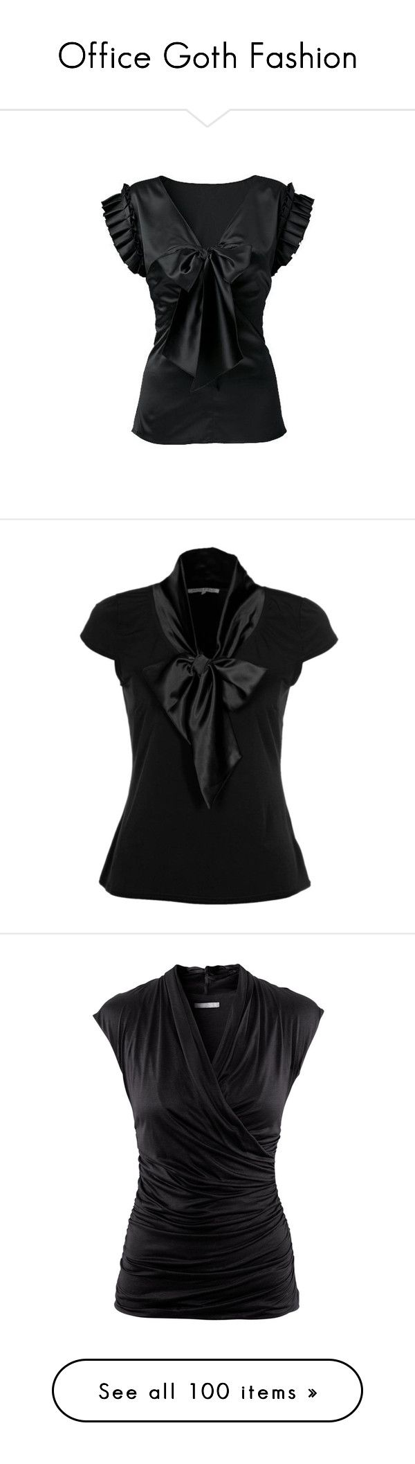"""""""Office Goth Fashion"""" by shannen-legere-lavigne ❤ liked on Polyvore featuring goth, corporate, tops, blouses, shirts, blusas, black, going out tops, black blouse and flutter sleeve blouse"""