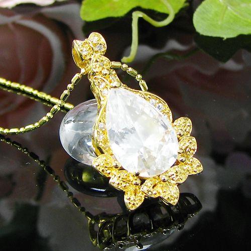 Pandantiv elegant placat cu aur galben 18k cu diamant alb