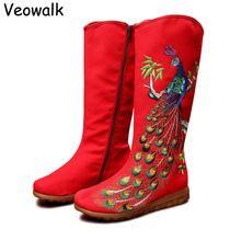 Veowalk Herfst Oude Beijing Pauw Pailletten Katoen Geborduurde Vrouw Casual Mid Laarzen Dames Platform Canvas Schoenen Botas Mujer(China)