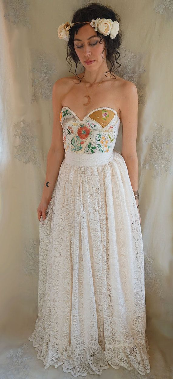 Meadow Bustier Wedding Gown... women dress boho whimsical woodland by Jada Dreaming
