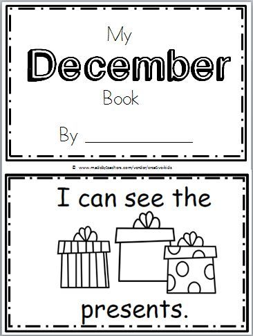 "Free December Book for Kindergarten Practice reading the words ""I can see the…"" There are 10 pages in this December mini book. You can print and use all the pages or just the one…"