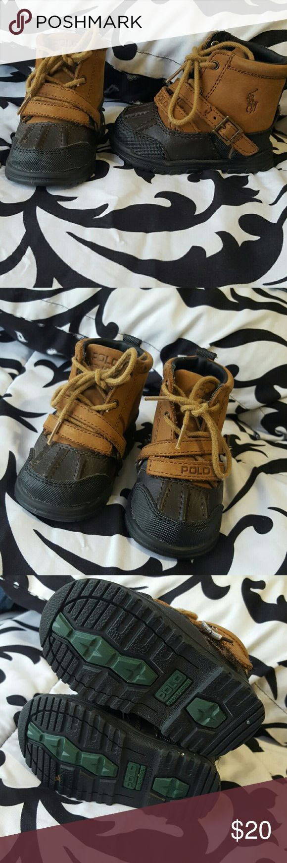 ⭐Sale⭐Polo Ralph Lauren leather boots **Almost perfect condition, has small scratches please see additional listing for more pictures** *Size 2* *Brown and black* Polo by Ralph Lauren Shoes Baby & Walker