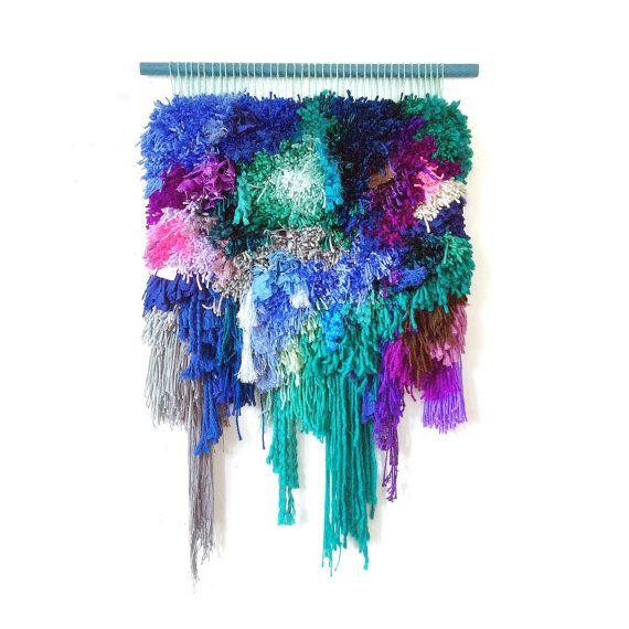 Tejidos pared colgante / Furry marino n. 2 / tejidas a mano de tapiz de pared colgante tejido fibra arte textil pared arte tejido Home Decor Jujujust