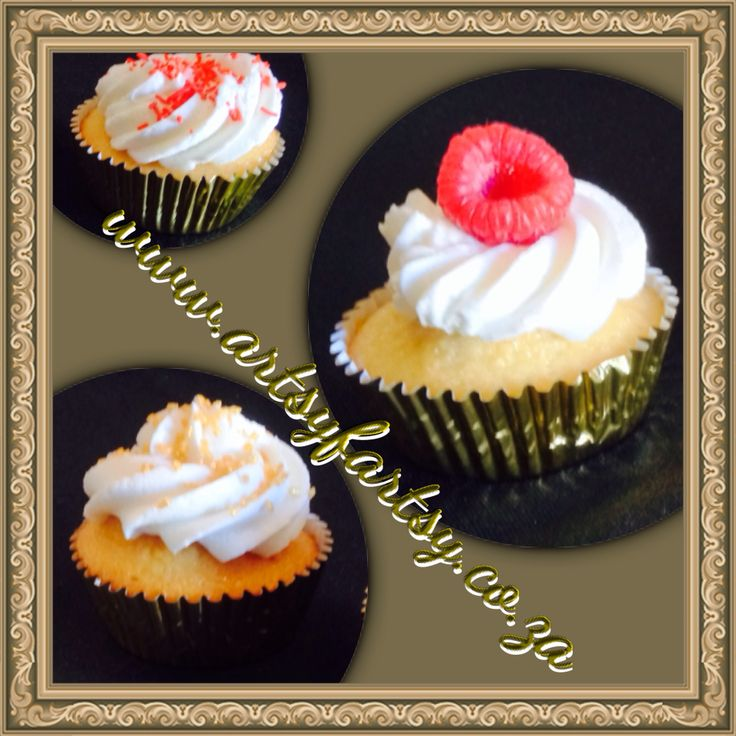 Red, Gold and White Vanilla Cupcakes