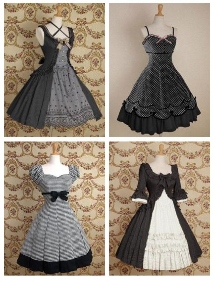 Black, white, and gray dresses by Mary Magdalene.
