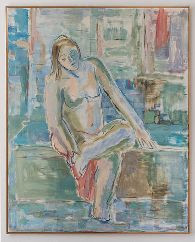 Friso ten Holt - Vrouw in badkamer (1968)  olieverf op doek - afmeting 130x160 cm Woman in a bathroom (1968) oil on canvas - dimensions 130x160 cm