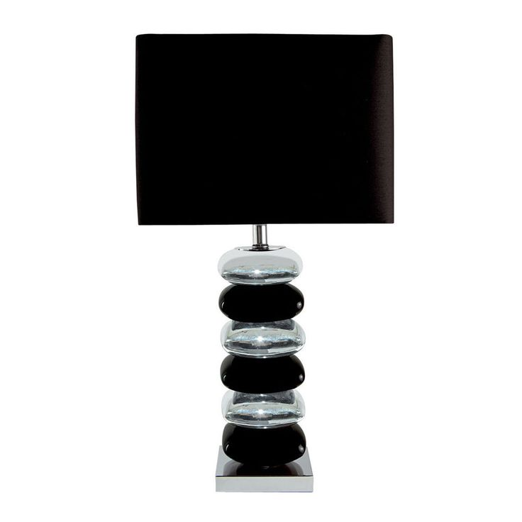 Searchlight 4318CC 1 Black Chrome Pillow Stack Table Lamp With Brown Shade