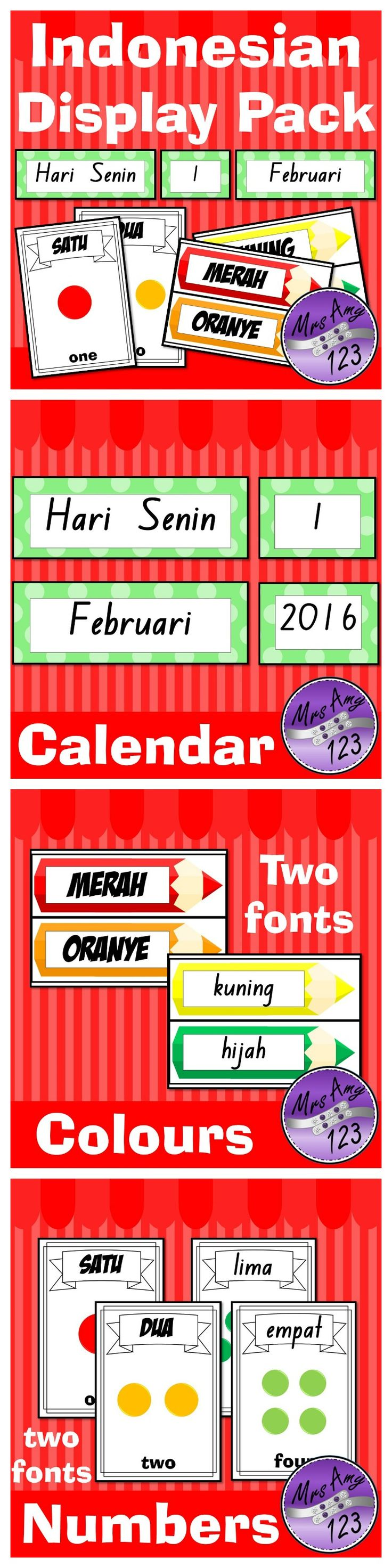 Indonesian Display Pack- Colours, Numbers and Calendar