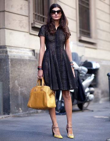 modestly hot: Fashion Shoes, Black Dresses, Dresses Shoes, Street Style, Outfit, Yellow Bags, The Dresses, Eyelet Dresses, Yellow Accessories