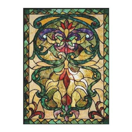 Counted Cross Stitch Pattern Victorian Stained Glass PDF cs0200