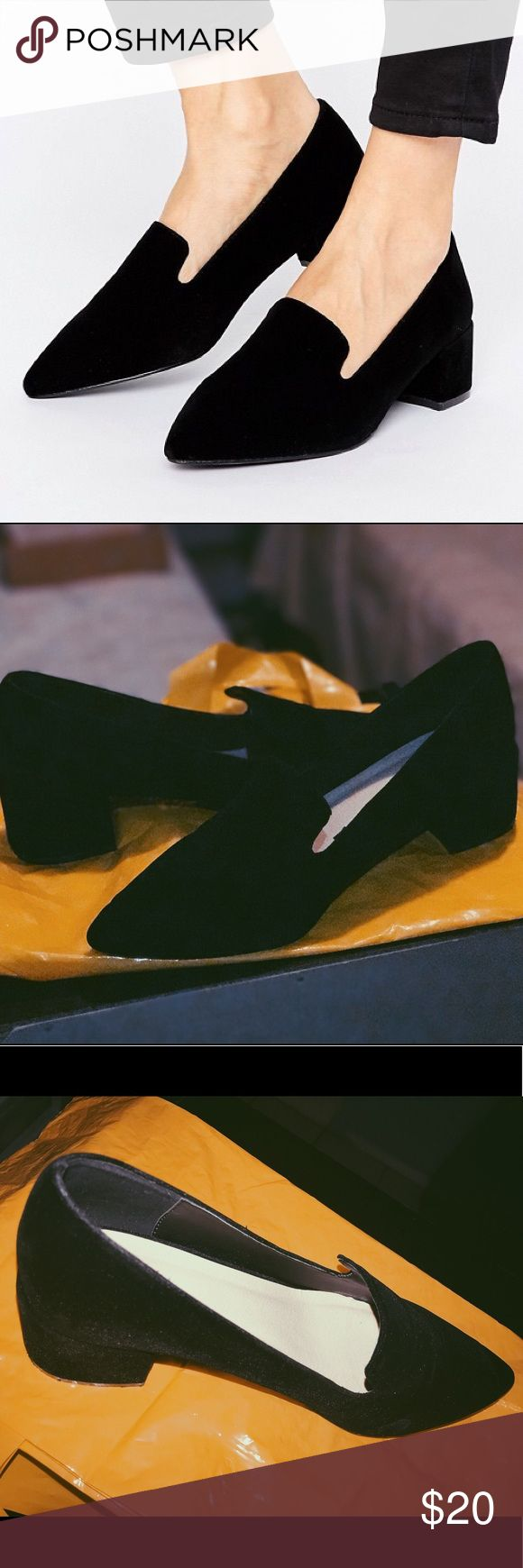 ASOS SIA Velvet Pointed Heels (UK 7 / US 9) CURRENTLY SOLD OUT ON ASOS.COM (As of 06/08/17) /// RUNS BIG!!!! Is a size US 9 but fits a 10 perfectly. Worn only once, has been sitting in its original box since. Original packing paper still in box. Sole on the heel slightly scuffed, velvet clean and just like new. Amazing condition! ASOS Shoes Heels