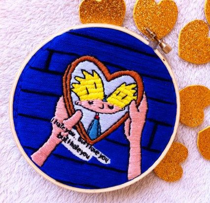 Hey Arnold Embroidery hoop art/ Hey Arnold by Petricorembroidery