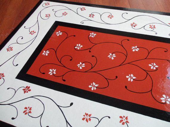 Elegant ON SALE Floorcloth Floor Cloth Floor Art In Burnt By TracyLogan, $90.00