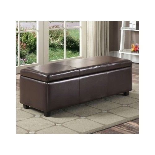 Large Storage Ottoman Faux Leather Bench Seat Footstool Living Room Furniture