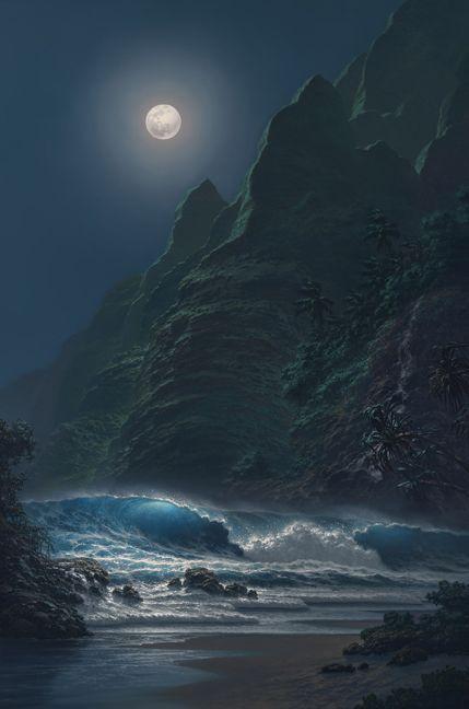 .: Moonlit Night, Beautiful Moon, The Ocean, Midnight Waves, Full Moon, Night Sky, Misty Moonlight, Moon Glow
