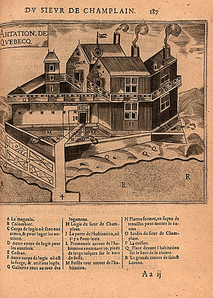 """""""Champlain's habitation at Quebec.""""  Samuel de Champlain, Les voyages, Paris, 1613."""