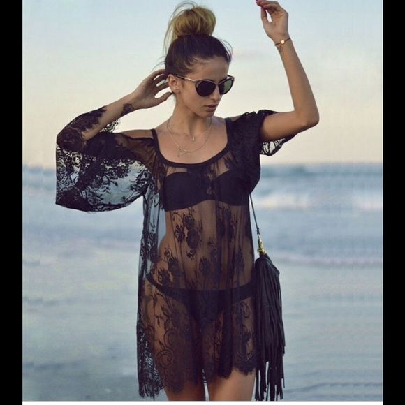 Sexy off shoulder lace swimsuit cover up Cute off shoulder lace swimsuit coverup.   Cute for the summer new never used. Swim Coverups