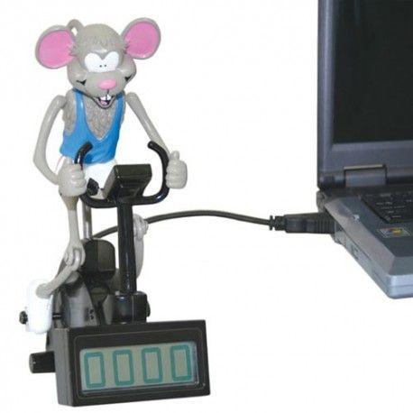 """USB """"Muis op Hometrainer"""" Hoe sneller je typt, hoe sneller de muispedalen gaan. Fantastisch voor saaie typ-dagen! Werken je werknemers niet snel genoeg? Je wilt hier iets aan doen, en tegelijkertijd iets plezants geven. Dan is dit een ideaal personeelsgeschenkje."""