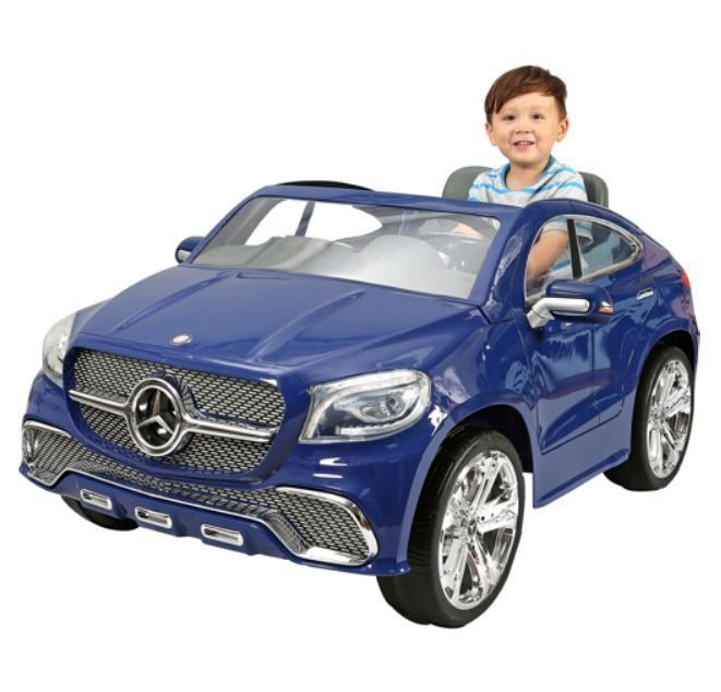 kids ride on toy car fun mercedes coupe suv 12v powered headlights mp3 jack blue