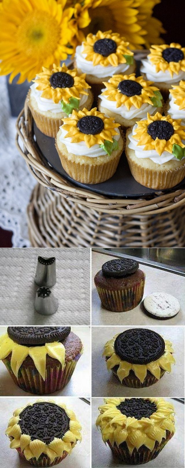 DIY Sunflower Cupcakes with Oreos:: Sunflower Cupcakes:: Summer Treats