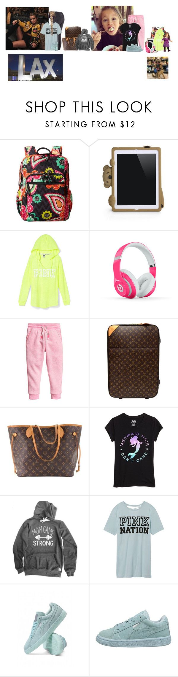 """Monday (night) // Flight to Georgia"" by those-families ❤ liked on Polyvore featuring Vera Bradley, Moschino, Beats by Dr. Dre, Louis Vuitton, Victoria's Secret, Puma and quickfamily"