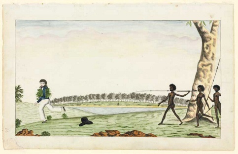 Watercolour 44 by the Port Jackson Painter from Banks Manuscript 34, (c. 1790). This drawing is also known as 'The Hunted Rushcutter'. Natural History Museum, London.