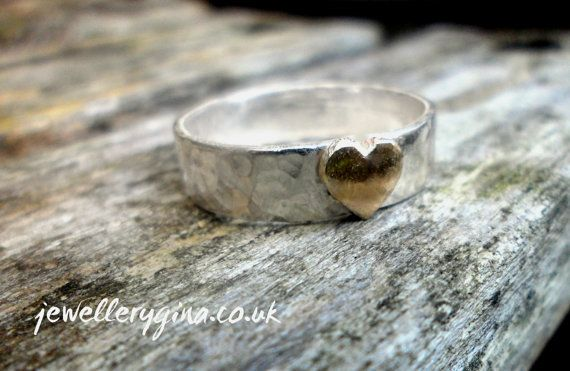 Hand Hammered Band with Solid Gold Heart on Etsy, £65.00