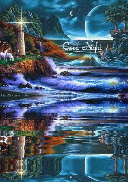 good NIGHT  -animated image (water flows)