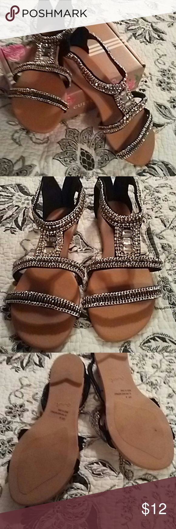 Sandals New never worn black and bling detail zips in back qupid  Shoes Flats & Loafers