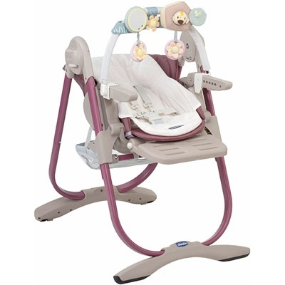 Chicco Chaise haute bébé polly magic rosé texture tissé 160€
