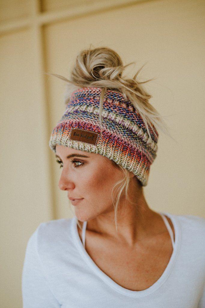Messy Bun Knitted Beanie Hat - Rainbow  315d4c37772