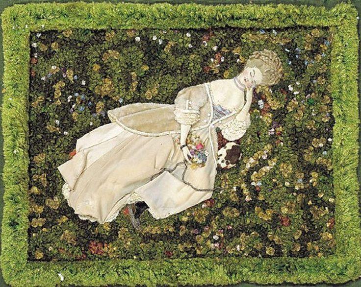 Дама с собачкой, отдыхающая на лужайке |