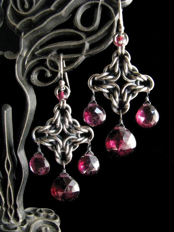 Byzantine Diamond Chainmaille Earrings