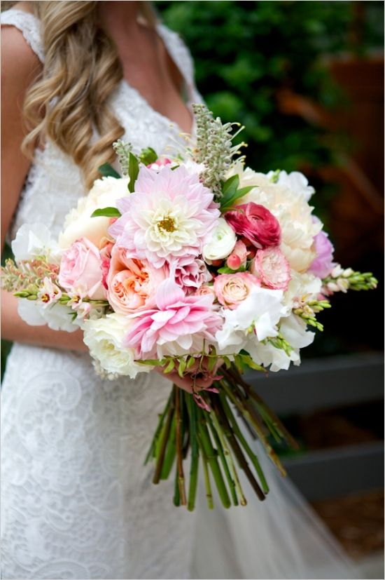 pink peach and white bouquet #bouquet #bride #weddingchicks http://www.weddingchicks.com/2014/02/27/sophisticated-stable-wedding/