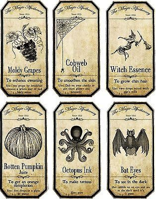 Steampunk Apothecary | Vintage inspired Halloween 12 bottle label stickers scrapbooking party ...