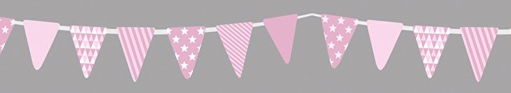 Rol masking tape met vlaggetjes slinger in roze op zwarte achtergrond, 15 meter lang, 1,5 cm breed. Washi tape