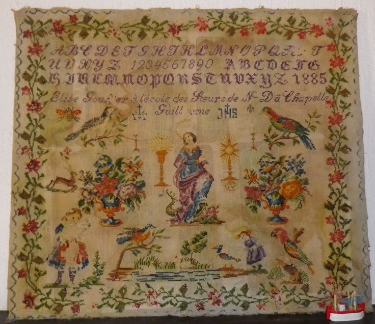 A Fabulous 19th Century FRENCH Sampler Stitched By Elise Gou...? & Dated 1885