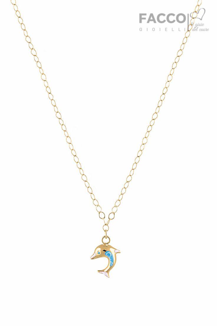 Collana bambina, Facco Gioielli, in oro giallo 750‰, pendente delfino decorato a mano.