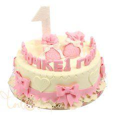 Детский торт розовый торт на 1 годик
