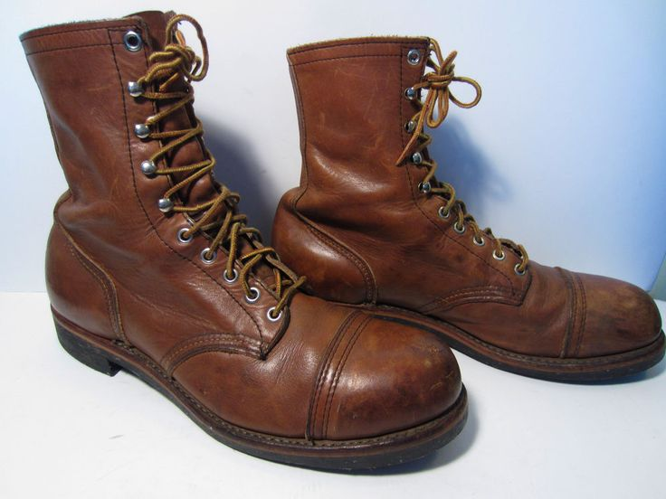 Vintage Men's Red Wing Steel Cap Toe Iron Ranger Style Brown Boots Size 11 B  #RedWing #WorkSafety