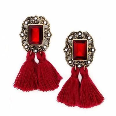 Cute rhinestone and tassel fringe earrings date evening Chunk Earrings vintage boho chic bohemian tribal indian ethnic indo-western handmade handcrafted quirky gypsy unique pom-pom earrings tassel made in india earrings ideas antique beautiful cool awesome indian wedding festive festival diwali party desi stone designer earrings design bollywood colorful bright hand painted india fashion jhumka jhumki gold silver exotic chaand chand baalis baali afghani pakistani gota jewellery jewelery…