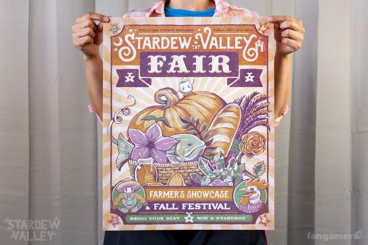 "Come one, come all to the Stardew Valley Fair! You'll find farm-fresh produce, cutthroat competitions, and a complex social map to navigate, among other things.  Kari Fry is the artist behind this official Stardew Valley print, which measures 16""x20""."